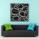 Contemporary Artwork, Black and White Ovals, Mid-Century