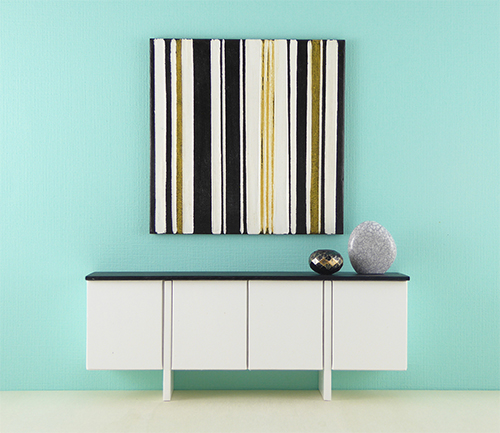 Modern Dollhouse Mini Painting, Metallic Stripes