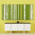 Mini Painting, Modular Art, Greenery and White Stripe