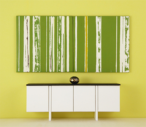 Mini Painting, Modular Art, Greenery and White Stripe - by Mini ...