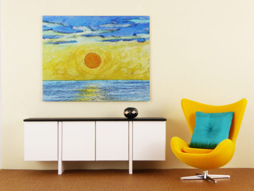 Mini Metal Art Print, Sunset - by Mini Modern Paintings