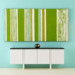 Mini Abstract Painting, Modular, Greenery, Stripe Artwork