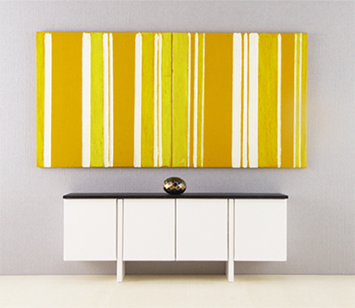 Miniature Modular Painting, Yellow and White Stripe