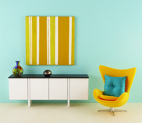 Original Mini Yellow Stripes Painting modern dollhouse