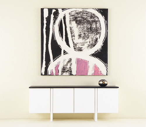 Mini Wall Art, Pink and Black, Abstract Painting