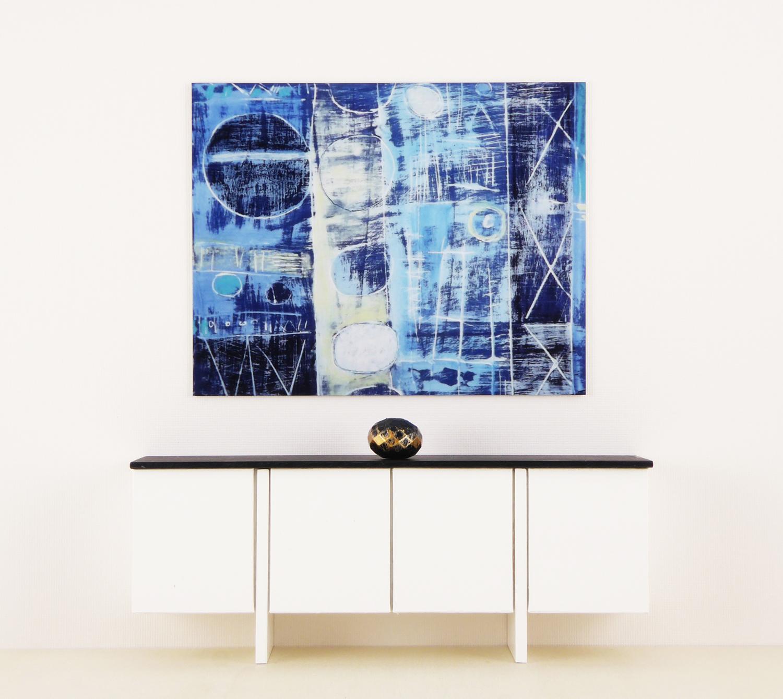 Blue Abstract Mini Metal Art Print