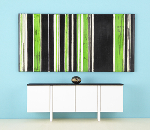 1:12 Scale Abstract Wall Art, Black and Greenery, Striped Modular Art for Modern Dollhouse