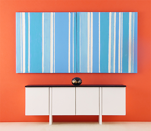 Mini Abstract Art, Blue and White Stripe Modular Painting