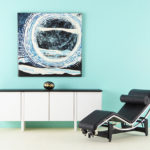 Miniature Painting, Blue,Black and White, Abstract Artwork